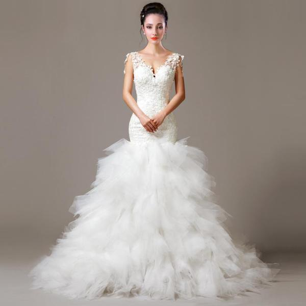 Lace Feather Mermaid Neck Wedding Dress With Appliques
