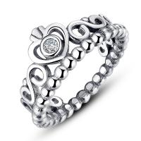 My Princess, Pandora Style Crown Silver Rings With Clear ...