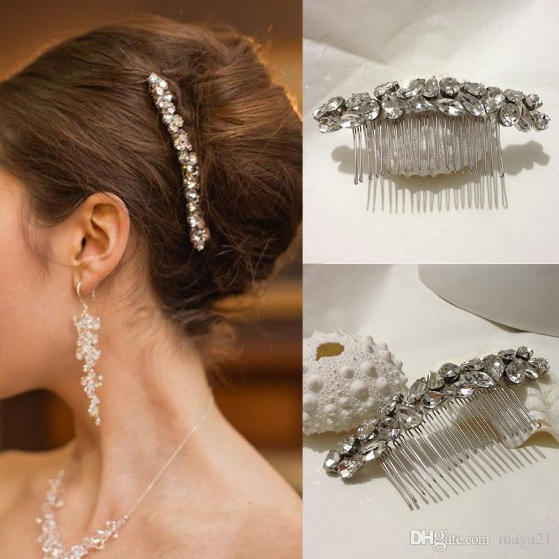 bridal hair combs simple long strip elegant cystal glass beads side wedding comb accessories bridesmaid prom headpieces bridal comb