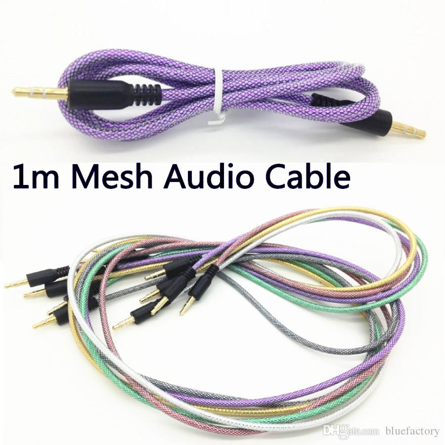 hight resolution of discount rubber tube audio aux cable 3 5mm fishing net mesh jack auxiliary stereo male to