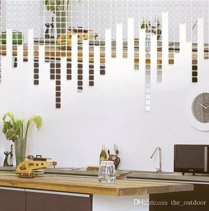 Wall Stickers Home Décor Square Crystal Mirror Wall Decals