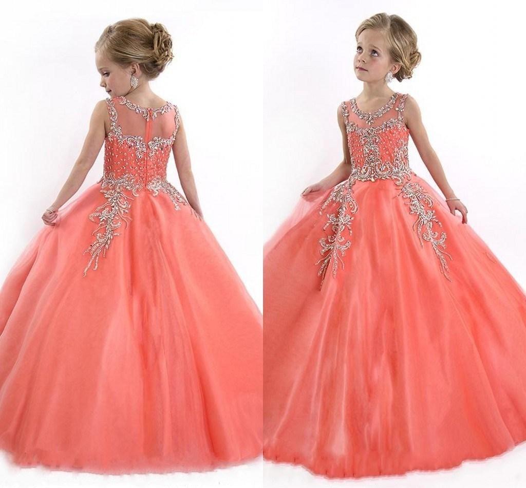 Peach Girls Pageant Dresses For Teens Cute Cupcake
