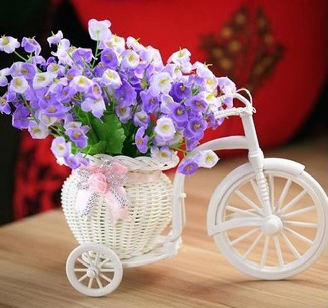 Vases White Tricycle Bike Design Flower Basket Storage