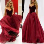 Dark Red Sweetheart Prom Dress