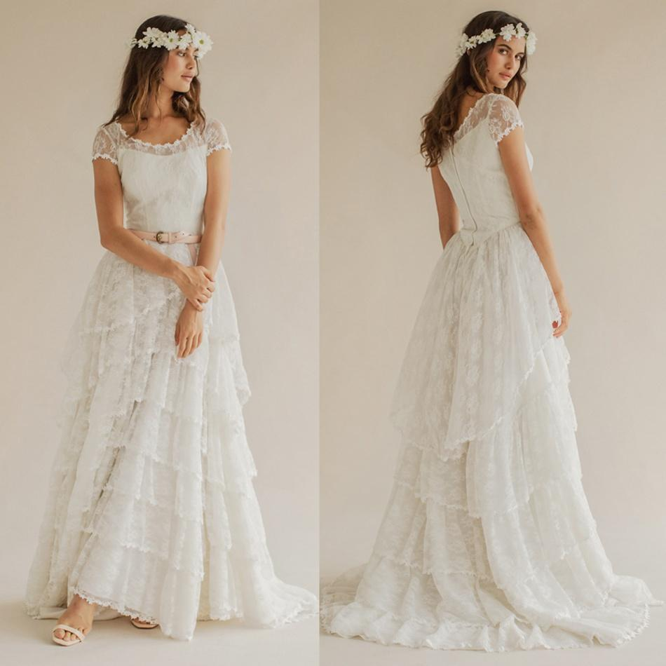 Discount 2015 Bohemian Wedding Dresses Scoop Short