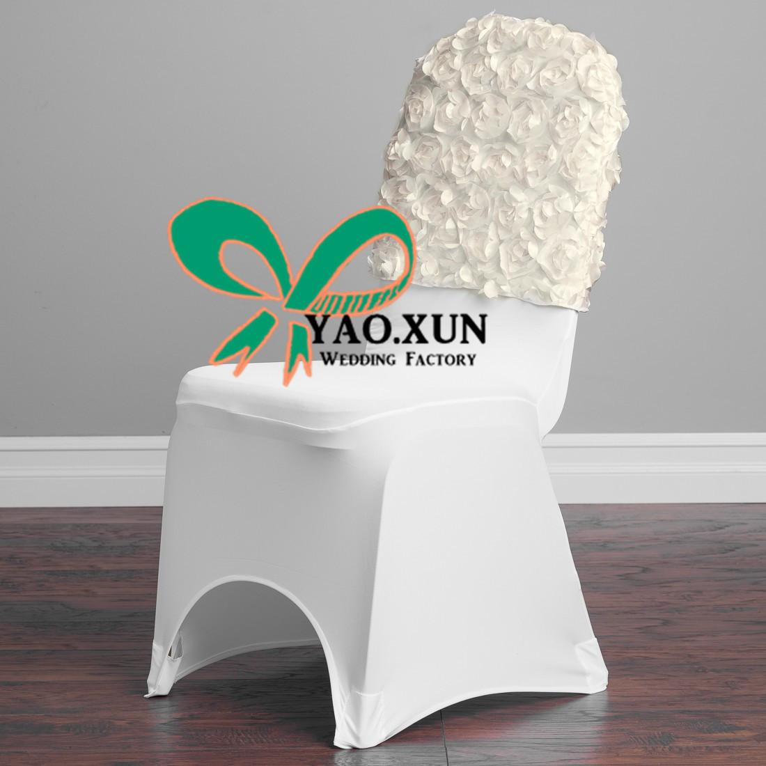 used banquet chair covers wholesale doll hair salon satin rosette cap hood for spandex