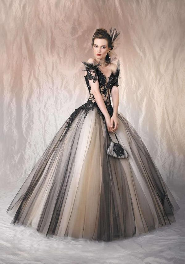 2016 Sexy Gothic Wedding Dresses Black And Champagne Off