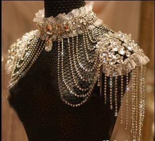 Real Image Luxury 2015 Bridal Jewelry Shoulder Chain Korean Alloy Rhinestone Wedding Accessories