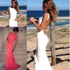 Simple Long White Prom Dresses