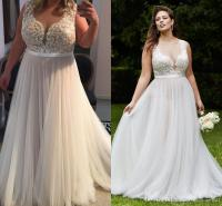 Discount 2017 Lace Plus Size Beach Wedding Dresses Sheer ...