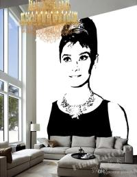 Black And White Wall Mural Pop Art Audrey Hepburn Photo ...