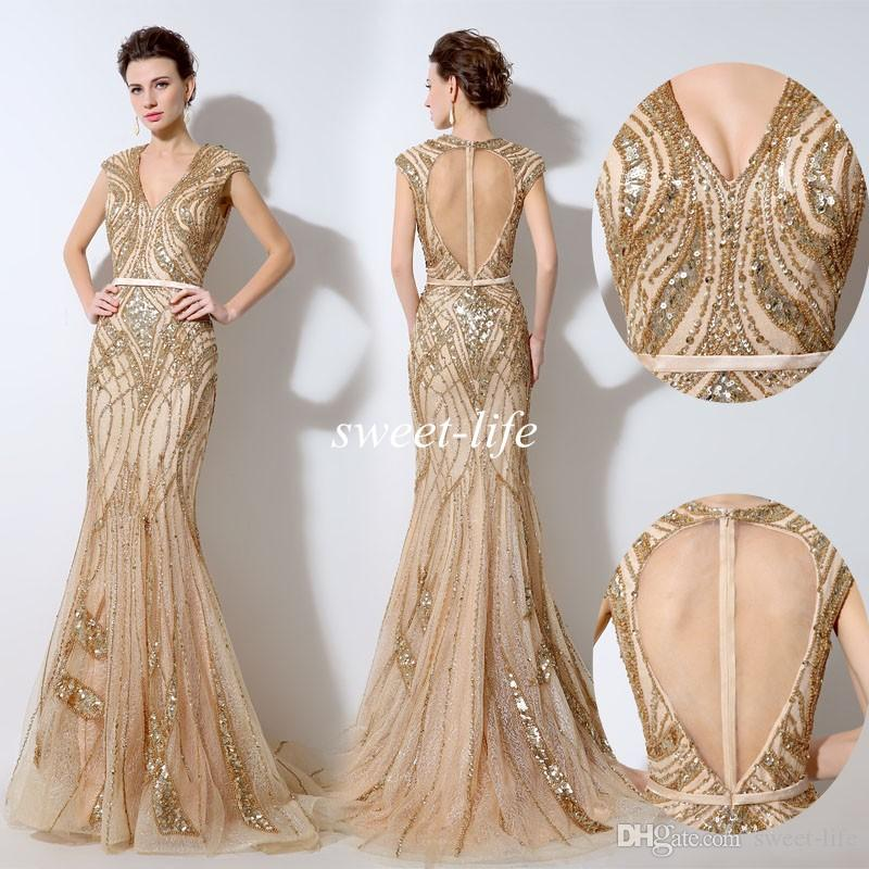 vintage gold evening dresses