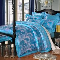 Blue Luxury Jacquard Bedding Sets Queen King Size Imitated ...