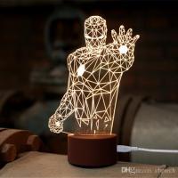 Novel IRON MAN 3D LIGHT FX DECO LED WALL NIGHT LIGHT WOOD ...