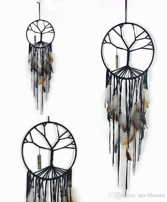 2019 Handmade Tree Of Life Dream Catcher Feather Bead
