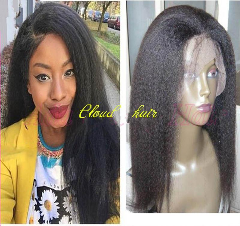Unprocessed Brazilian Coarse Yaki Kinky Straight Lace Wigs