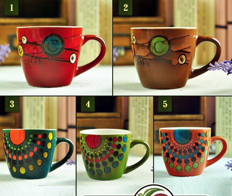 Hand Painting Floral Ceramic Mug Coffee Cup Milk Mug With Handgrip