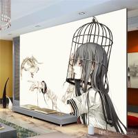 Cartoon Wall Mural Pigeon & Girl Photo Wallpaper Modern