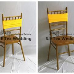 Yellow Spandex Chair Sashes Orthopedic Chairs For The Elderly Double Layer Lycra Band Sash Chiavari Decoration In
