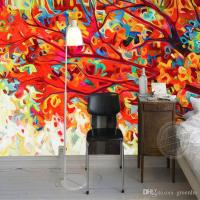 Abstract Painting Wallpaper Colorful Trees Wall Murals 3d ...