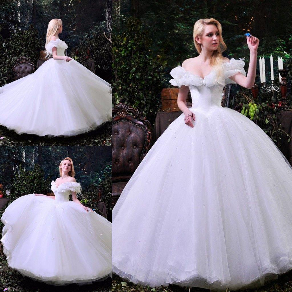 2017 Cinderella Pure White Wedding Dresses Sexy Off