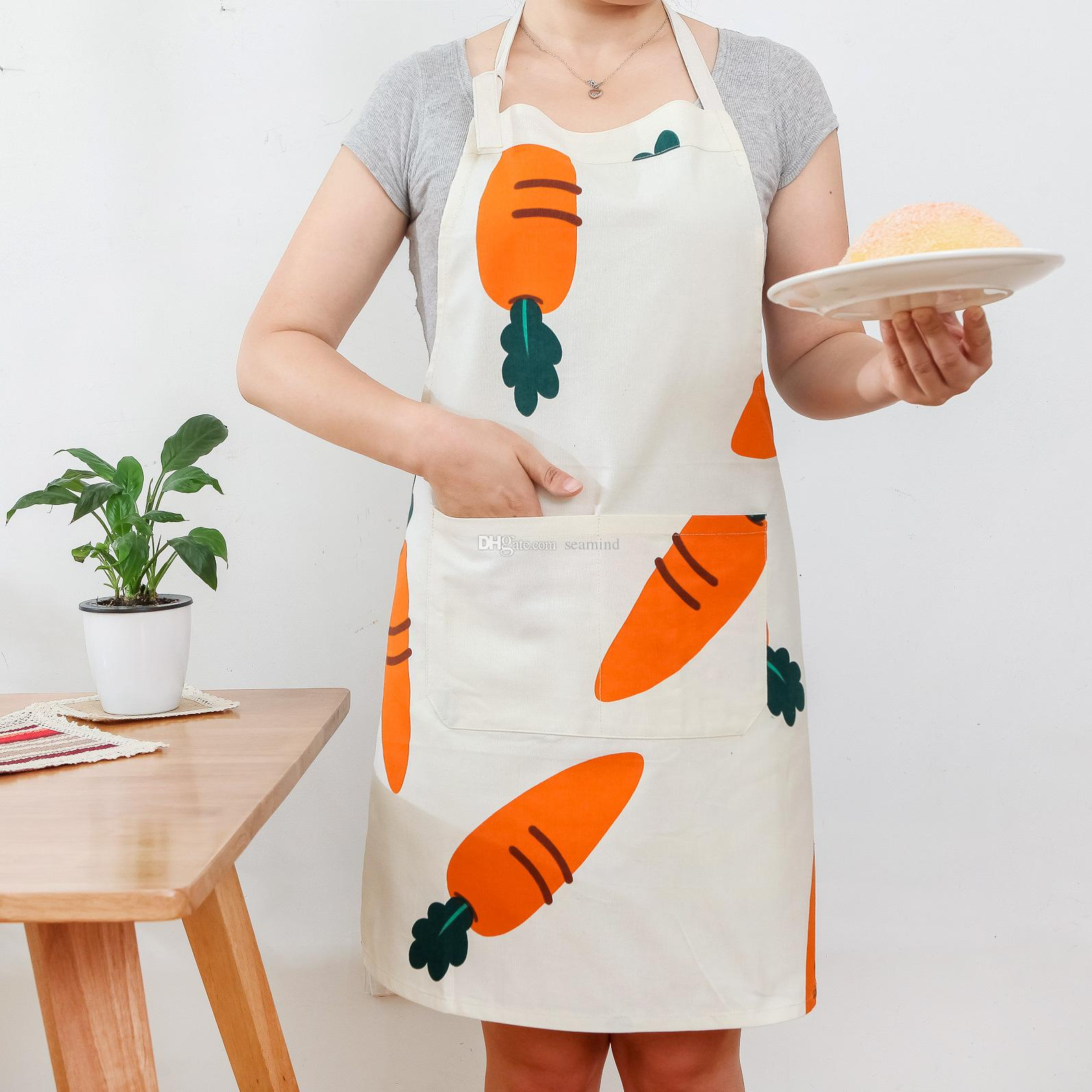 kitchen aprons island for cotton linen apron kids women barbecue restaurant funny creative carrot pattern printed with pocket hand towel butcher