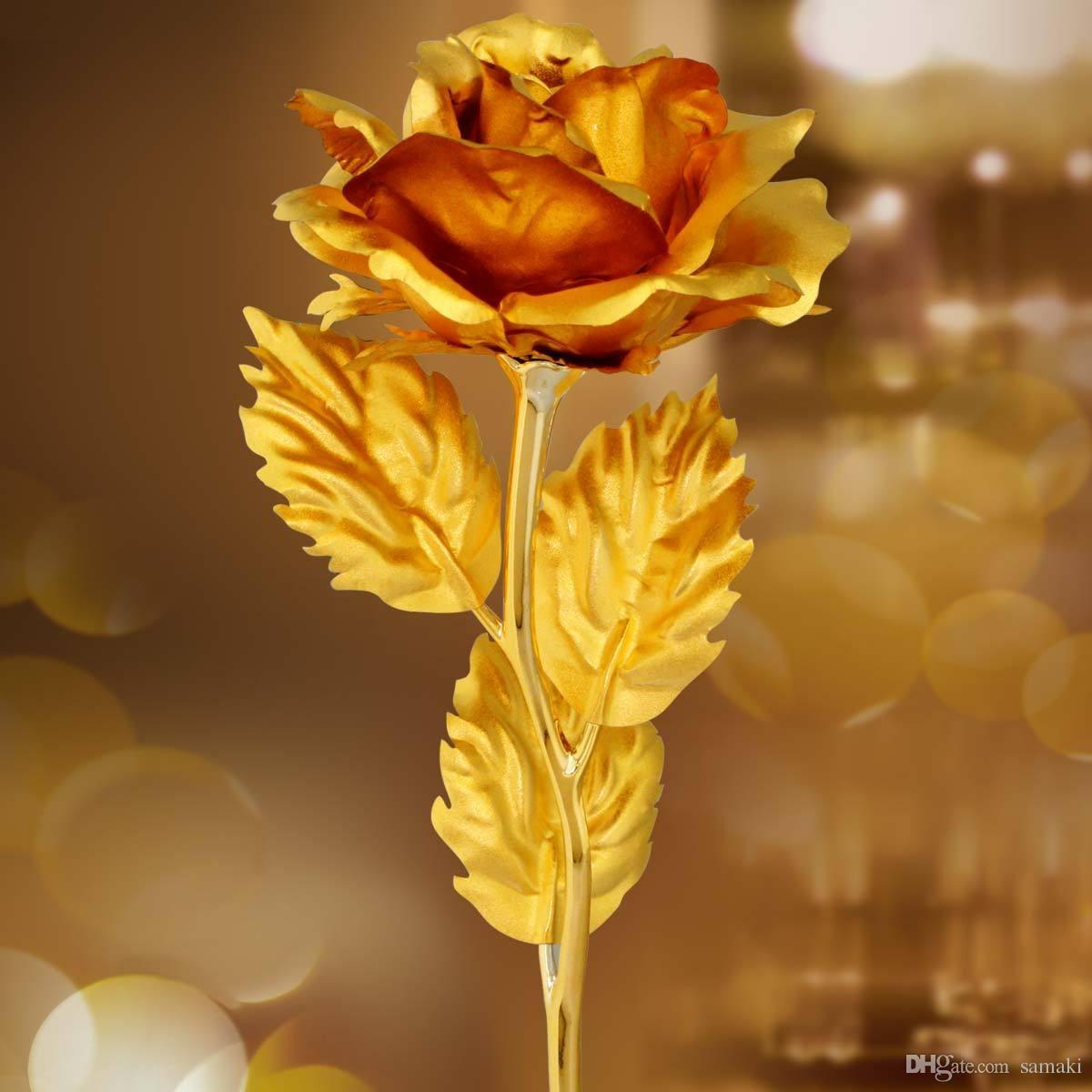 2017 Golden Rose For Valentine Day Artificial Flower Love