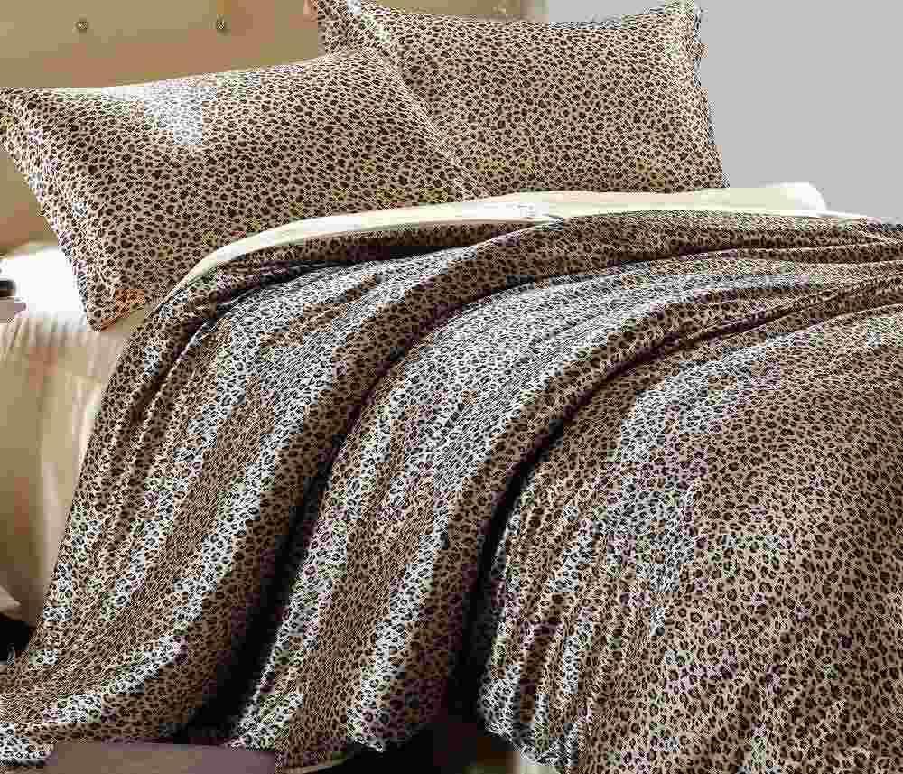 2017 Kardashian Gold Silk Bedding Sets, Leopard Silk Bed