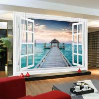 Window 3D Maldives Large Ocean View Wall Stickers Art ...