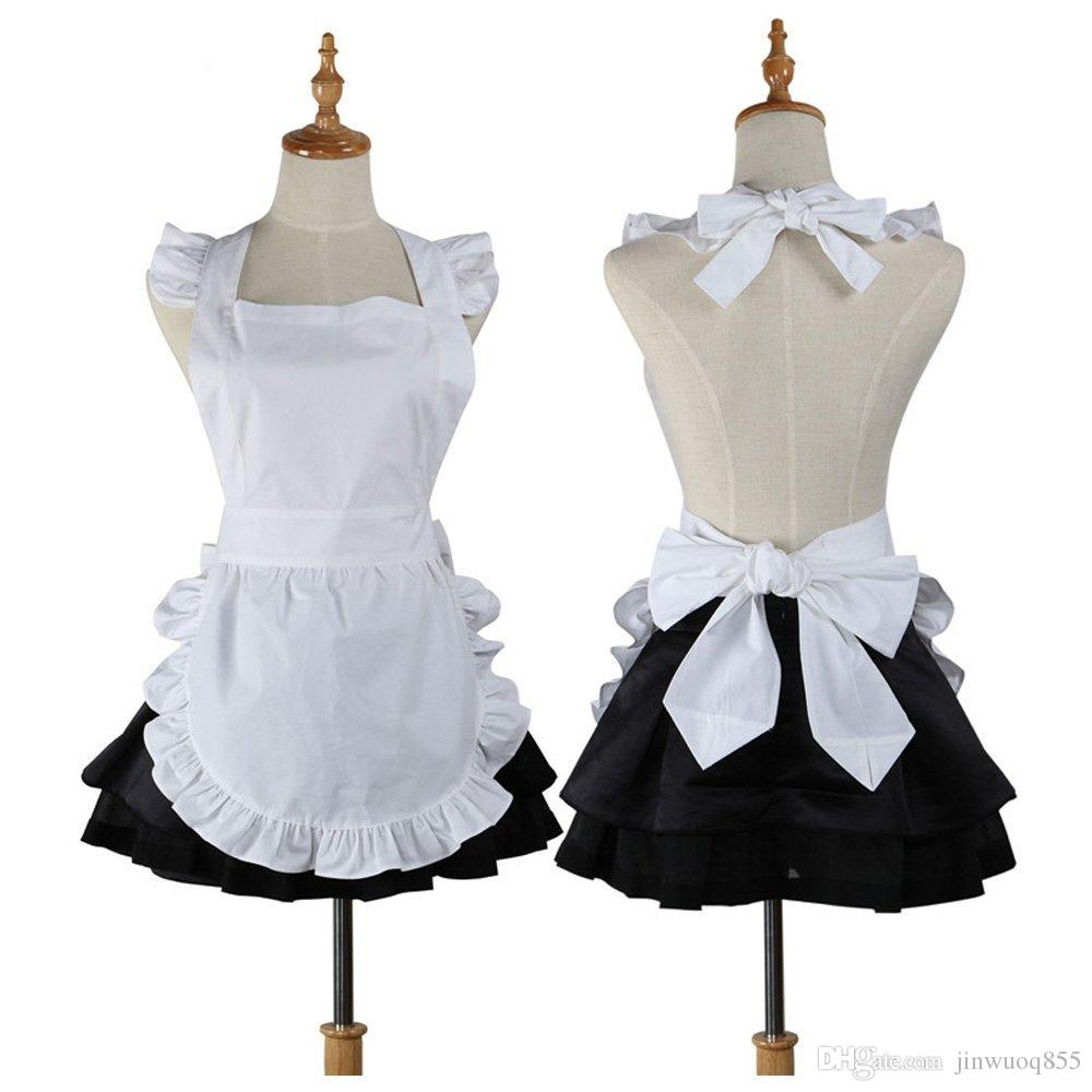 cute kitchen aprons delta motion sensor faucet cotton retro cooking white apron restaurant waitress work for woman cosplay costume tablier gift pinafore bbq design from