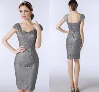 Lace Silver Grey Mother Of The Bride Dresses Knee Length ...