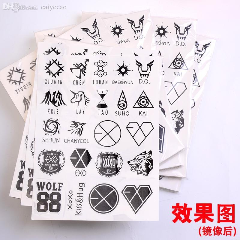 Wholesale Kpop Exo Sehun Do Xiumin Lay Tao Wolf Waterproof Temporary