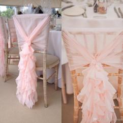 Wedding Chair Sash Small Recliner 2017 Blush Pink Sashes Chiffon Ruffles Covers