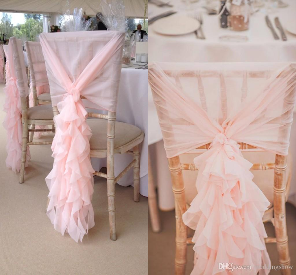 chair covers decorations hanging bubble 2017 blush pink sashes chiffon ruffles