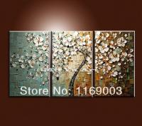 2018 Large 3 Panel Wall Art Abstract White Flower Tree Of ...