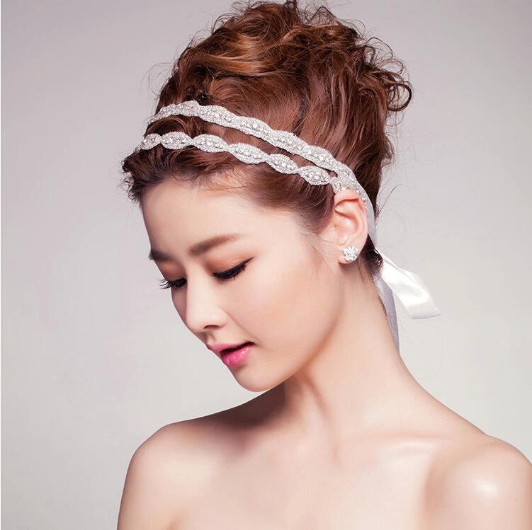 2015 cheap crystal double bridal headbands rhinestone ribbon wedding headbands for bride beads hair jewelry vintage bridal hair accessories