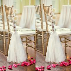 Wedding Chair Sash Reclining Folding With Footrest White Tulle Sashes Handmade Flowers Criss Cross