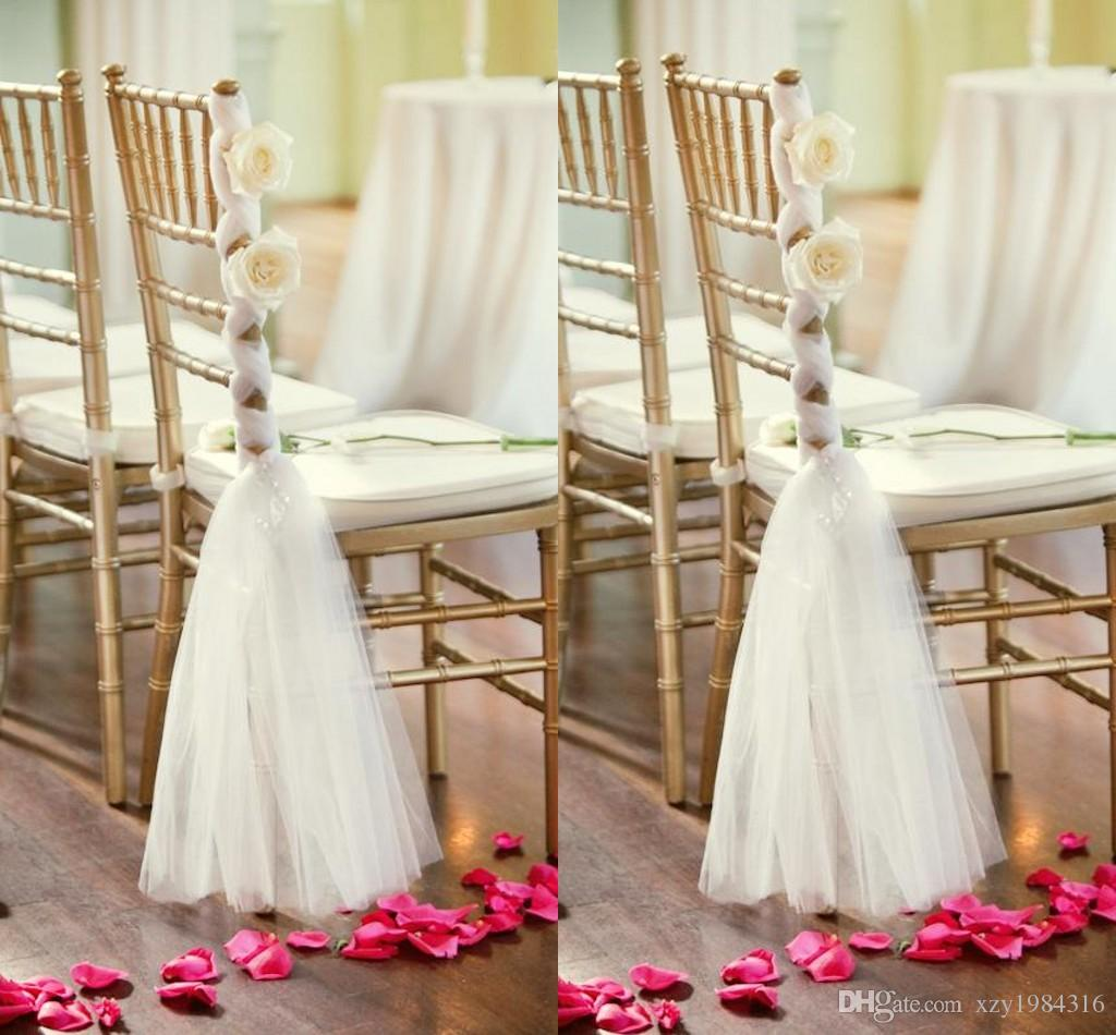 wedding chair covers and sashes sport brella recliner white tulle handmade flowers criss cross