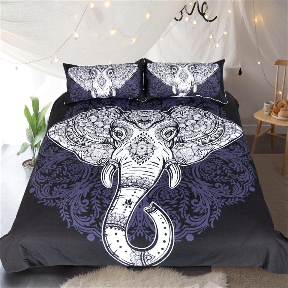 Tribal Elephant Bedding Set Boho Mandala Black & White