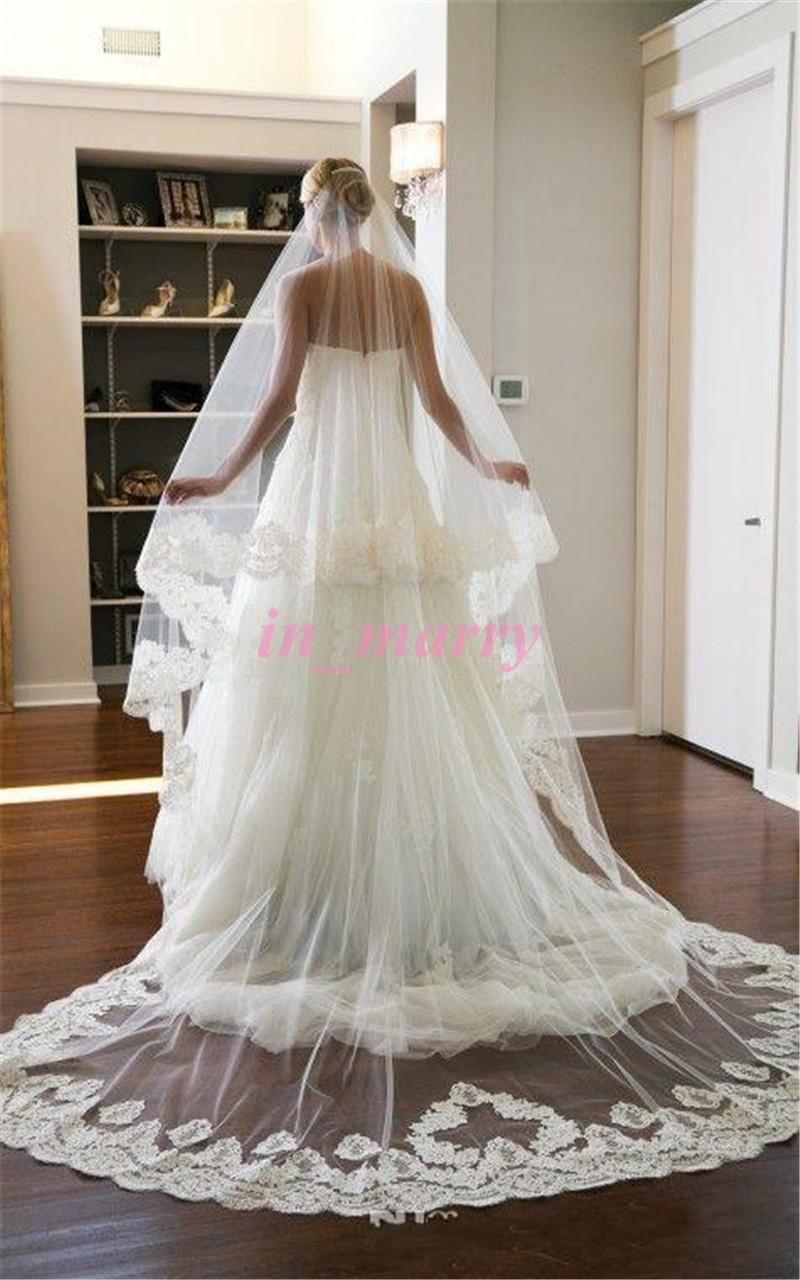 Big Discount White Ivory Bridal Veil 2015 2 Layers Long Veil Wedding Accessories Simple Cheap