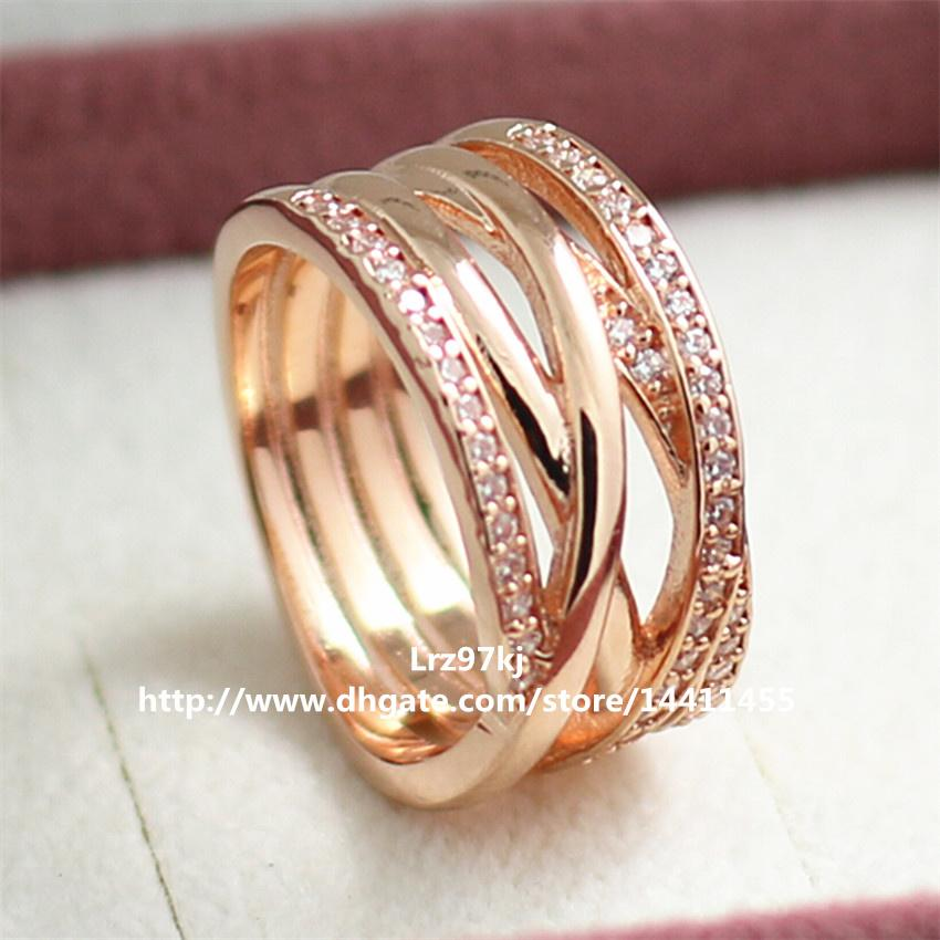 European Pandora Style Rose Gold Plated Entwined Charm