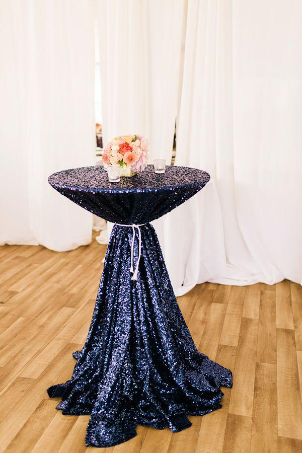 Cheap Mesh Navy Blue Sequin Fabric Tablecloth For