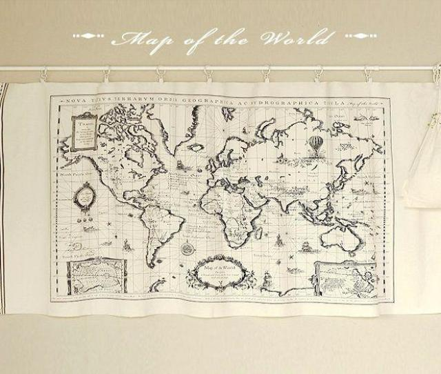 Vintage World Map Fabric Panel Sewing Quilt Patchwork Material Cotton Linen Cloth Diy Tablecloth Curtain High Quality Curtains For China Cloth Shower
