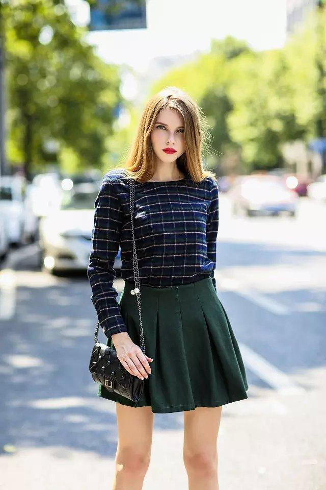 Spring And Autumn Outfit 2016 Korean Style Grid Two Piece