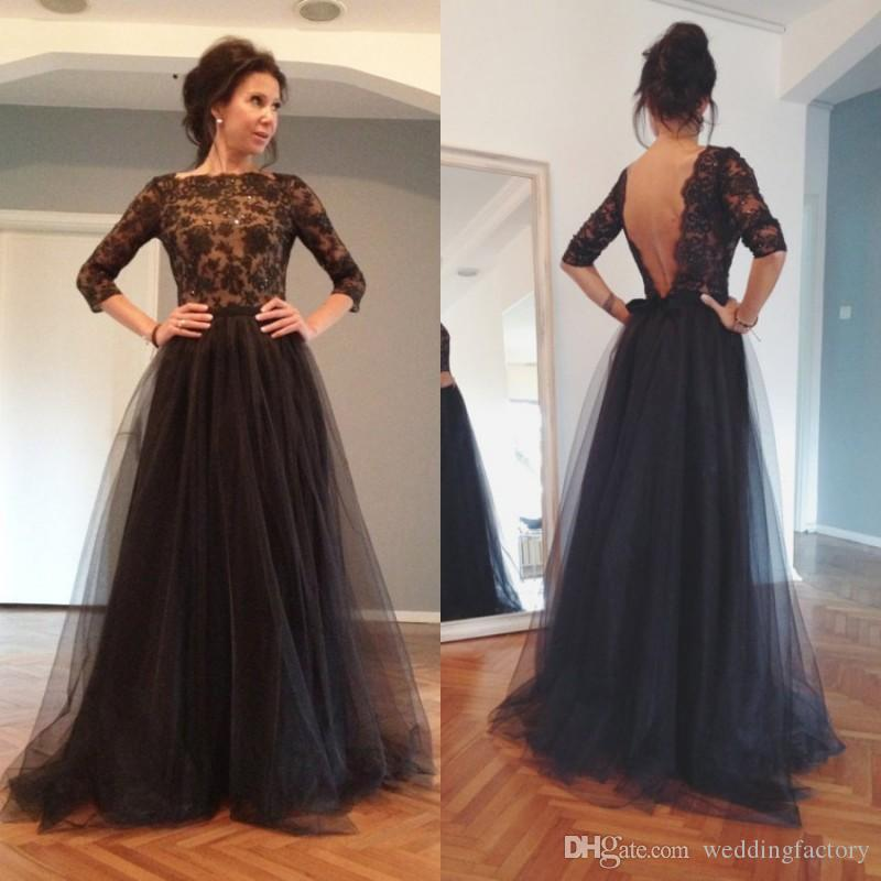 Cheap Backless Black Prom Dresses 2015 Spring A Line ...
