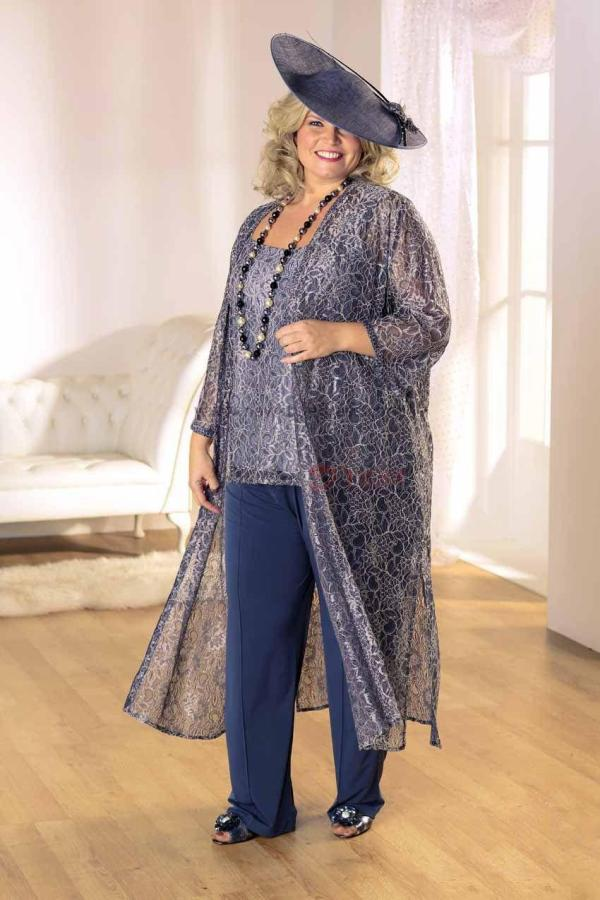 Lace Mother Bride Pant Suits With Long Jacket Chiffon