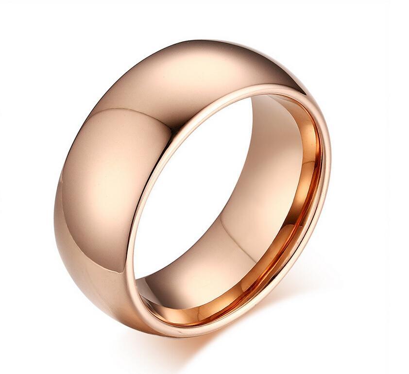 8mm Rose Gold Tungsten Carbide Rings Tungsten Steel Plain