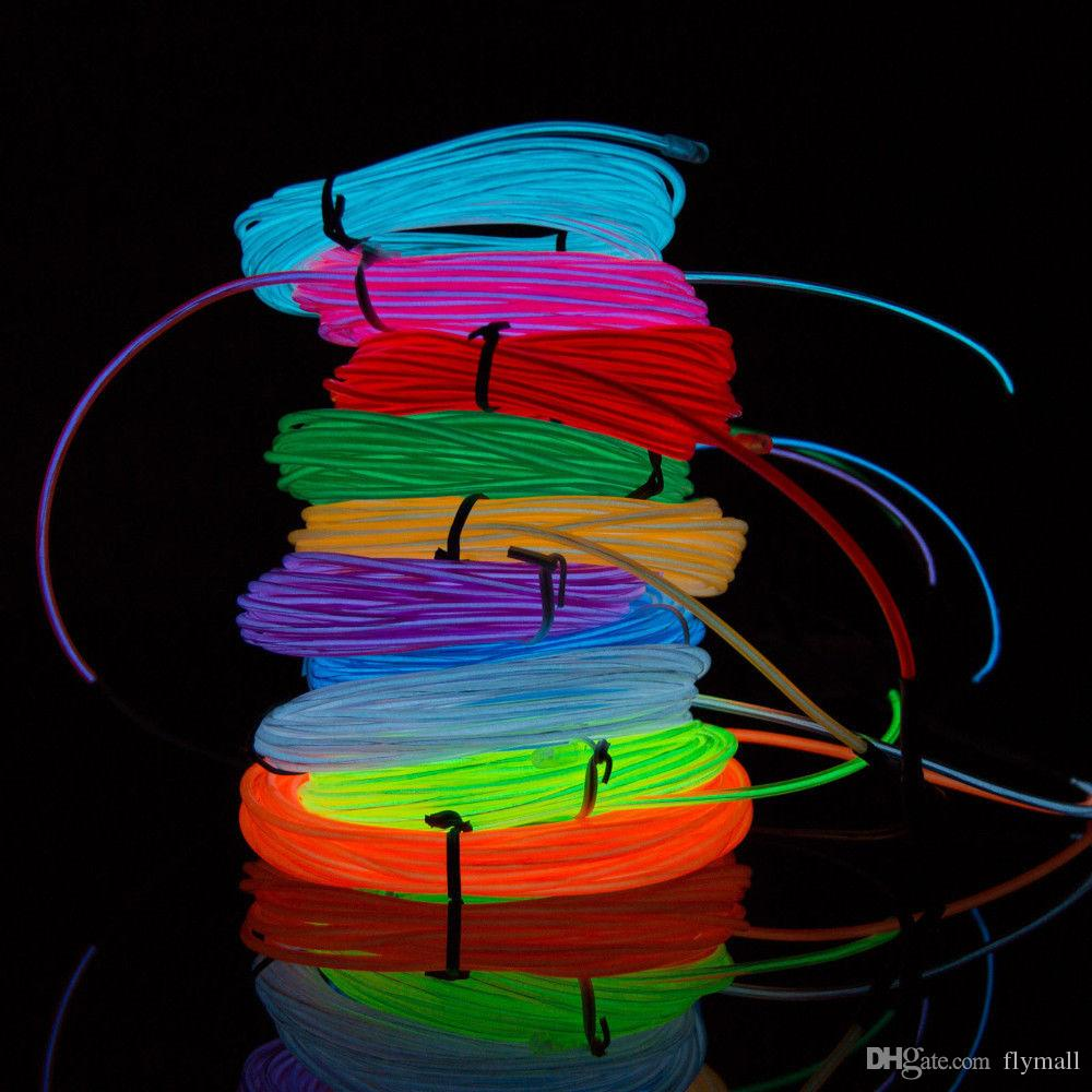 medium resolution of 2018 flexible neon light 3m el wire rope tube with controller halloween christmas led light party dance car decor glow cable light from flymall