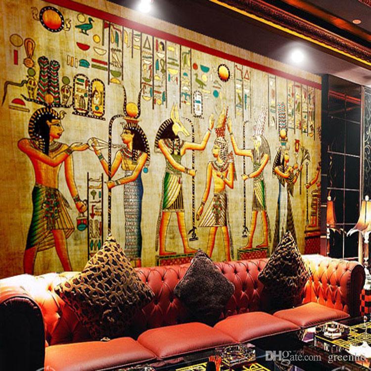 Egyptian Wall Painting Vintage Photo Wallpaper Custom 3d