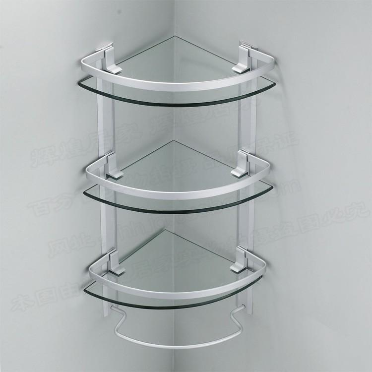 2019 Aluminum 3 Tier Glass Shelf Shower Holder Bathroom Accessories Corner Shelves For Storage
